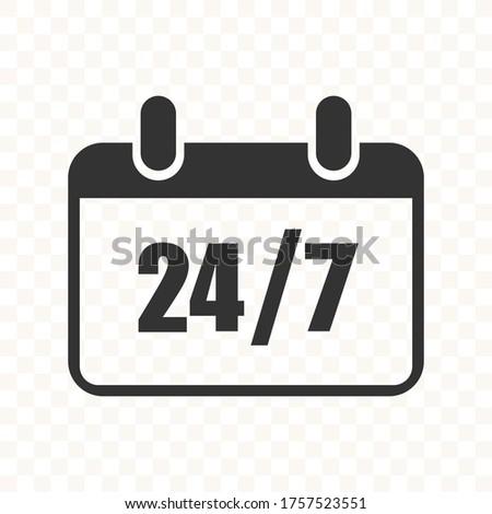 Calendar icon - 24/7 services - Vector web icon
