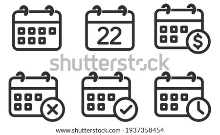 Calendar Icon set, collection of calendar symbols contain payday, Time management, Meeting Deadlines and more, Vector illustration Foto stock ©