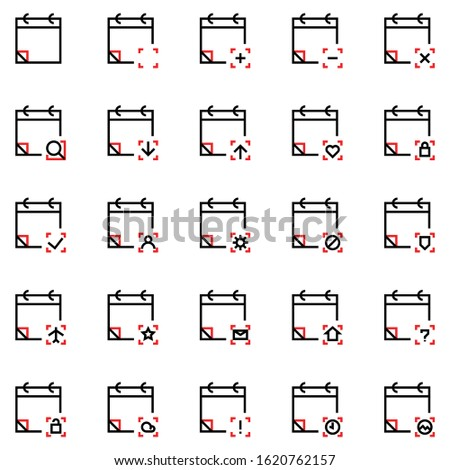 Calendar icon set include calendar,date,event,blank, time,add event,plus,minus,cross,search,download,arrow,upload,hearth,lock,check,past event,friends,user,people,setting,gear,maintenance,block,secure
