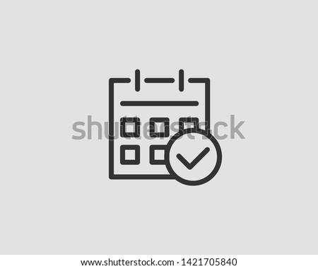 Calendar icon vector flat line design