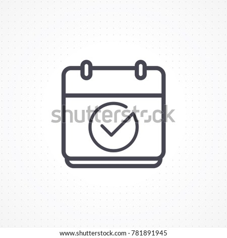 Calendar icon. Vector icon calendar with check mark. Calendar illustration for graphic and website. Calendar icon in flat style. Vector illustration