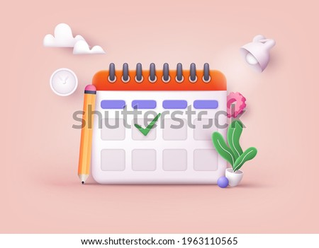 Calendar icon with check sign. 3D Web Vector Illustrations.