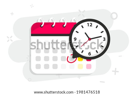 Calendar icon with clock. Icon notice message with clock, agenda symbol with selected important day. Time appointment, reminder date concept, time management. Calendar deadline. Business concept