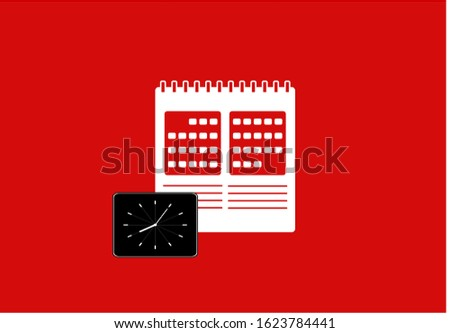 Calendar icon with clock illustration vector in red background. This calendar icon vector has one calendar icon. This calendar icon consists of a calendars icons and clock illustration.