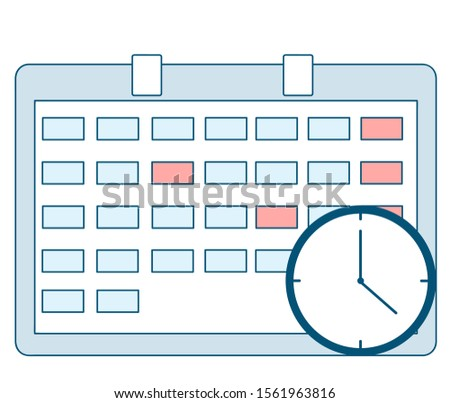 Calendar icon with clock. Schedule, appointment, important date concept. Vector illustration in flat style. Business Graphics Tasks, Planning and Scheduling Operations Agenda on a Week in the Calendar