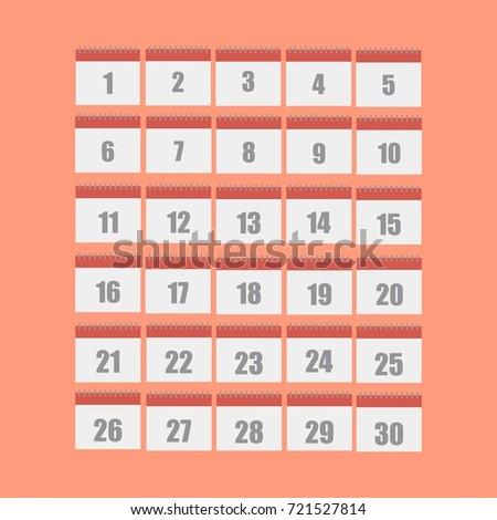Calendar icons 30 days