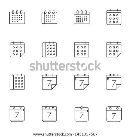 calendar icons set. calendar icons for ui
