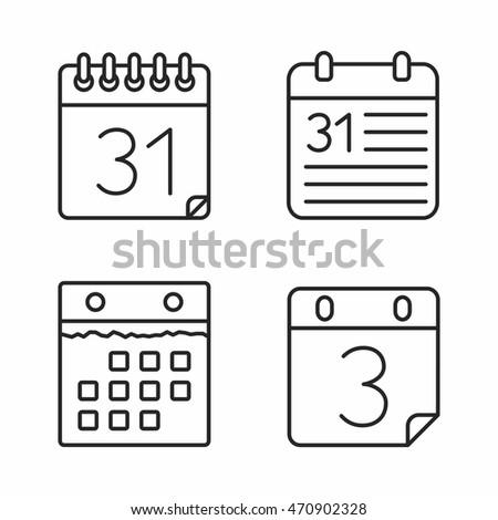 Calendar icons set, minimal line style, vector eps10 illustration