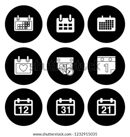 Calendar icons set - time & date sign, symbols and event reminder