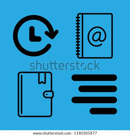 calendar icons set with right text alignment, address book and agenda vector set