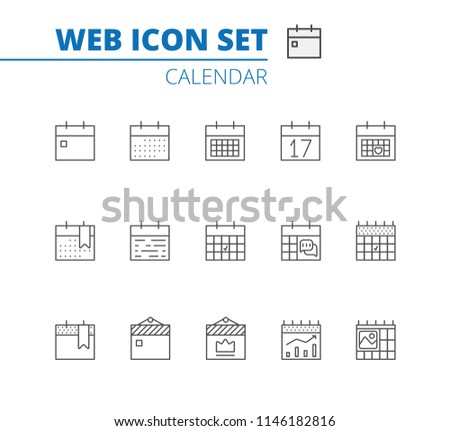 Calendar Icons Vector Set. Time and Seasons Simple Contour Line Style Signs. Vector Symbols of Diary, Organizer, Calender. Stock fotó ©
