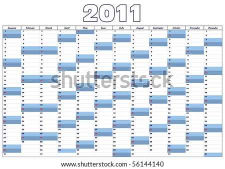 Calendar 2011 in English - stock vector