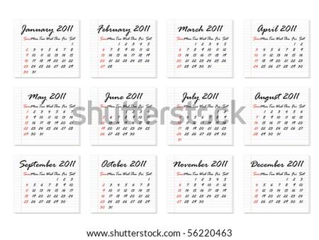 Calendar 2011 in English (vector)