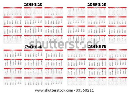 Calendar in Spanish 2012-2013-2014-2015