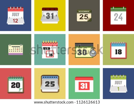 Calendar Isolated Flat Web Mobile Icon, Vector Sign Symbol or Button, Element - Silhouette Calendar