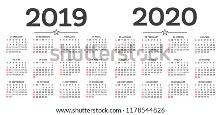Calendar 2019 2020 Isolated on White Background. Week starts from Sunday. Vector Illustration.