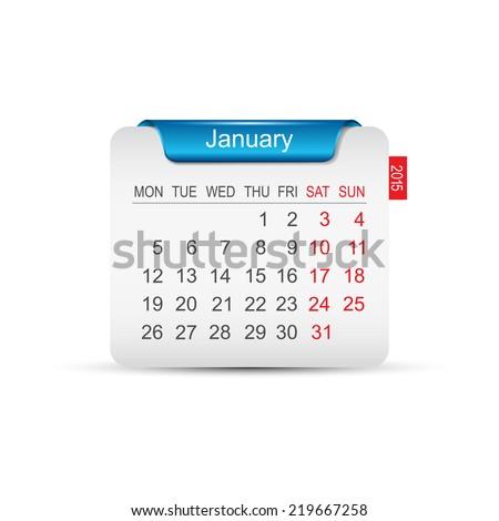 Calendar January 2015 Vector illustration