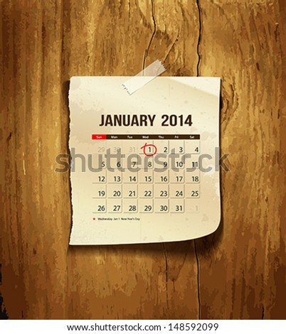 Calendar January 2014 vintage paper on wood background vector illustration