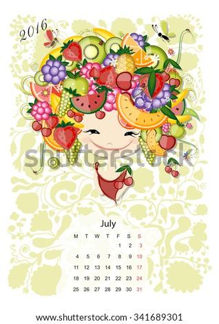 calendar 2016  july month