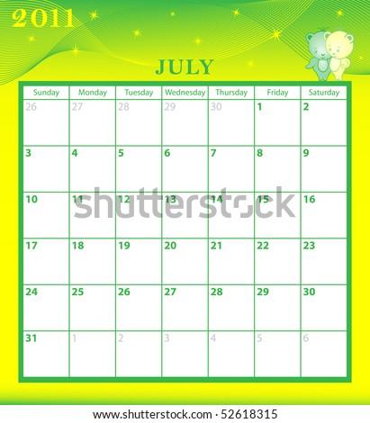 2011 Calendar July. stock vector : Calendar 2011