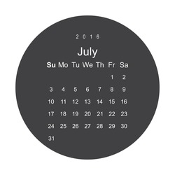 Calendar July 2016 vector design. Week starts from Sunday.