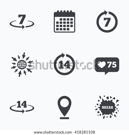 Calendar, like counter and go to web icons. Return of goods within 7 or 14 days icons. Warranty 2 weeks exchange symbols. Location pointer. Stock foto ©
