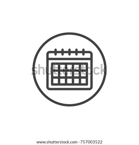 Calendar line icon, outline vector sign, linear style pictogram isolated on white. Schedule, timetable symbol, logo illustration. Editable stroke