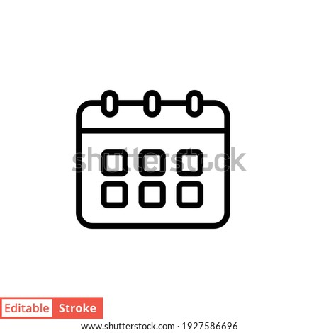 Calendar line icon. Simple outline style. Schedule, date, day, plan, symbol concept. Vector illustration isolated on white background. Editable stroke EPS 10.