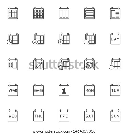 Calendar line icons set. linear style symbols collection, outline signs pack. vector graphics. Set includes icons as day, month, week, year, date, reminder, organizer, agenda, appointment, schedule