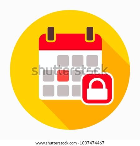 Calendar lock security icon