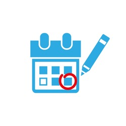 Calendar marking that important date icon vector illustration eps10. Isolated badge for website or app - stock infographics