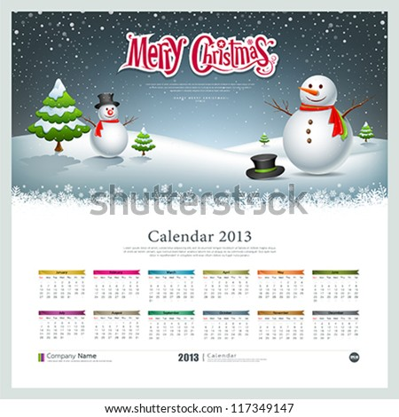 Calendar 2013, Merry christmas and snowman background, vector illustration