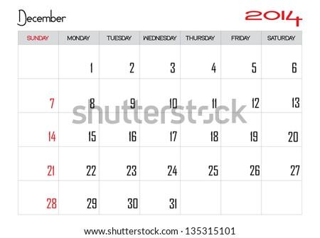 Calendars For The Month of December 2014 Calendar Month of December