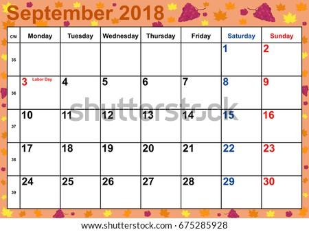 calendar 2018 by month