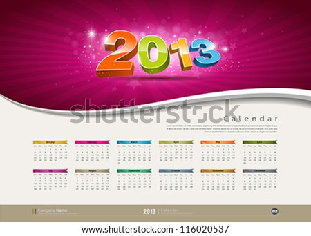 Calendar 2013 new year design colorful background, vector illustration