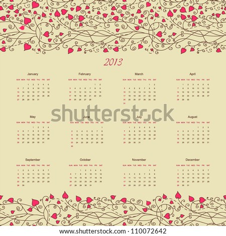 Calendar new 2013 year hand drawing floral retro background design for card, template, sketch, elements, border, art texture, banner, heart frame, season daily, pattern, planning vector eps 8