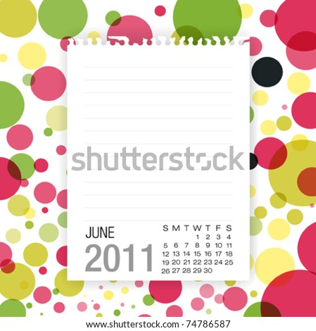 Calendar 2011 Note paper on graphic background .June