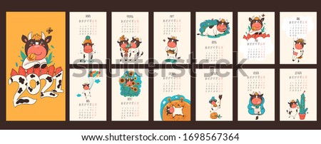 Calendar 2021 of the ox in Russian. Days of the week and months in Russian. Vector graphics.