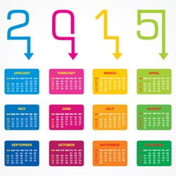 Calendar of 2015 with arrow design - vector illustration