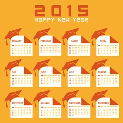 Calendar of 2015 with education concept design - vector illustration