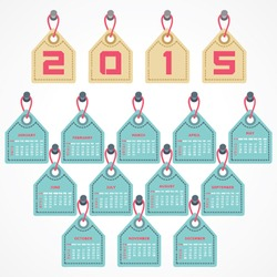 Calendar of 2015 with hanging label design - vector illustration