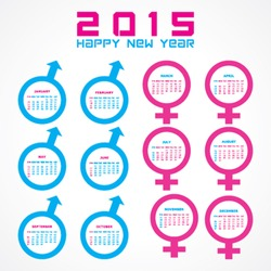 Calendar of 2015 with male and female symbol  design - vector illustration
