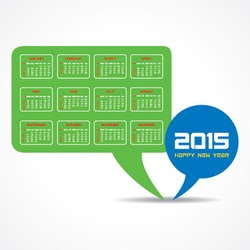 Calendar of 2015 with message bubble design - vector illustration