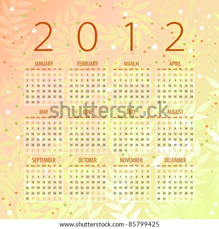 calendar of 2012 with organic background - week starts with sunday - stock vector