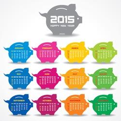 Calendar of 2015 with piggy bank concept design - vector illustration