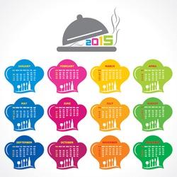 Calendar of 2015 with restaurant concept design - vector illustration