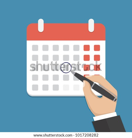 Calendar on the wall and hand marking one day on it. Flat vector illustration