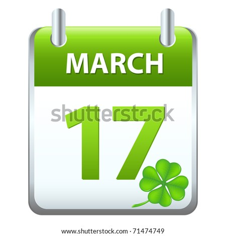 Calendar On Theme St. Patrick's Days, Isolated On White Background, Vector Illustration - stock vector