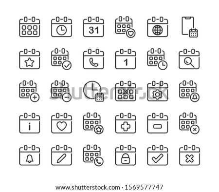 Calendar outline icon set. Vector and Illustration.