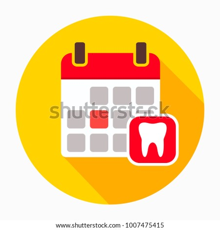 Calendar page with human tooth icon vector, filled flat sign, solid pictogram isolated on white. Dentist reception day symbol, logo illustration